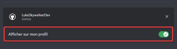 Désactiver l'affichage d'une connexion sur le profil