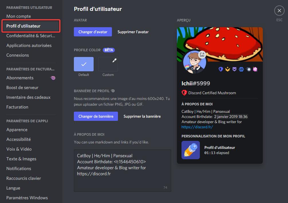 Onglet de personnalisation de profil